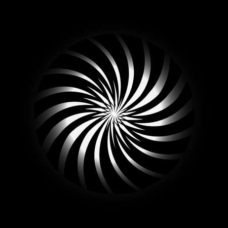 Abstract Spiral Series, Abstract Rotating Shape Vector, Black and White Shape Distort in Concentric, Irregular geometric elements, Vector Illustration