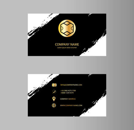 Creative business card Design, Golden , Ink Typographic Emblems, Brush stroke, Infographic. Abstract Modern Geometric Backgrounds, Vector Illustration