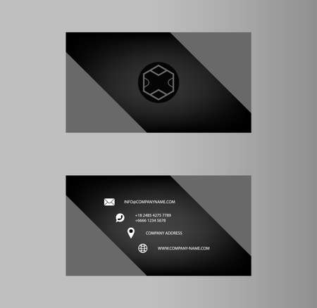 Creative business card Design, Grey gradient Color , Contact card for company, Infographic. Abstract Modern Geometric Backgrounds, Vector Illustration