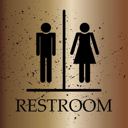 Restroom Symbol, Toilet sign On Bronze Gradient background, Grunge Effect, Isolated, vector illustration