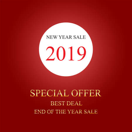 New Year text sale design, poster or card design template, End Of the Year Discount, 2019, Vector Illustration Vectores