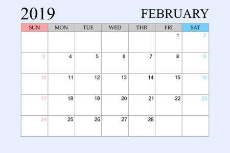 2019 Calendar, February, Schedule Planner, organizer, weeks start from Sunday, Vector Illustration