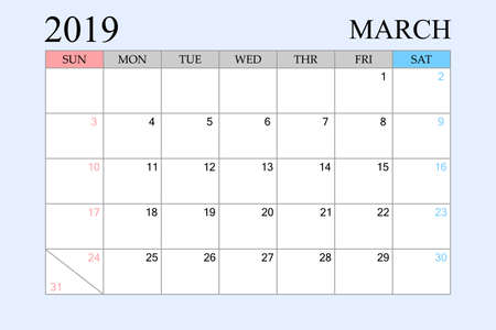 2019 Calendar, March, Schedule Planner, organizer, weeks start from Sunday, Vector Illustration Ilustração