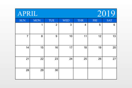 2019 Calendar, April, Blue Theme, Schedule Planner, organizer, weeks start from Sunday, Vector Illustration Ilustração