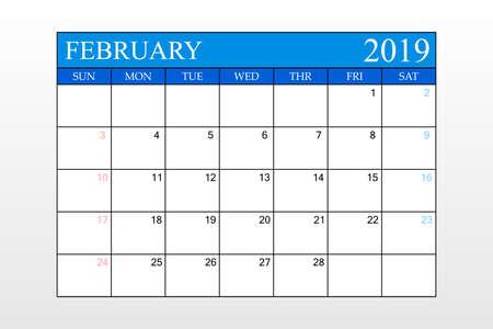 2019 Calendar, February, Blue Theme, Schedule Planner, organizer, weeks start from Sunday, Vector Illustration