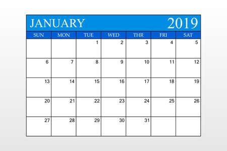 2019 Calendar, January, Blue Theme, Schedule Planner, organizer, weeks start from Sunday, Vector Illustration Ilustração