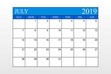 2019 Calendar, July, Blue Theme, Schedule Planner, organizer, weeks start from Sunday, Vector Illustration