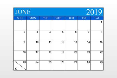 2019 Calendar, June, Blue Theme, Schedule Planner, organizer, weeks start from Sunday, Vector Illustration