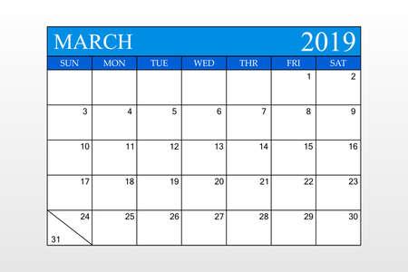 2019 Calendar, March, Blue Theme, Schedule Planner, organizer, weeks start from Sunday, Vector Illustration Ilustração