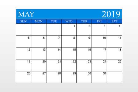 2019 Calendar, May, Blue Theme, Schedule Planner, organizer, weeks start from Sunday, Vector Illustration