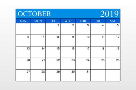 2019 Calendar, October, Blue Theme, Schedule Planner, organizer, weeks start from Sunday, Vector Illustration