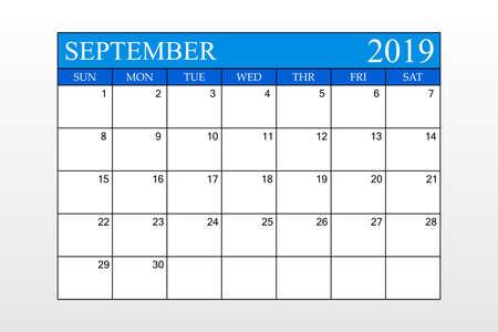 2019 Calendar, September, Blue Theme, Schedule Planner, organizer, weeks start from Sunday, Vector Illustration