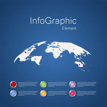 Infographic Design With World Map Element, Business Concept, used for Work Presentation, Website, Annual Report, Vector Illustration