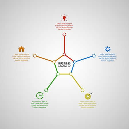 Business InfoGraphics, Geometry, Pentagon Design, Marketing presentation, section banner, Vector Illustration