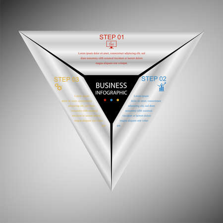 Business InfoGraphics, Geometry, Triangle Design, Marketing presentation, section banner, Vector Illustration