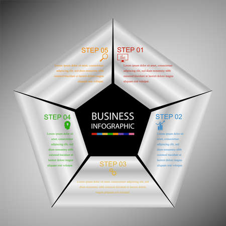 Business InfoGraphics, Geometry, Pentagon Design, Marketing presentation, section banner, Vector Illustration