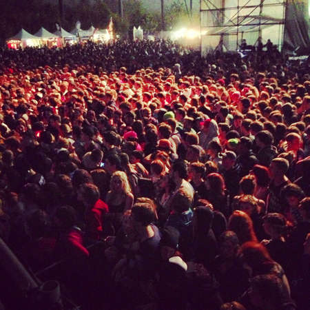 larger: A larger crowd of concert-goers
