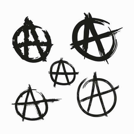 Set of Anarchy symbols. Painted with rough grunge brushes. Isolated vector illustration.