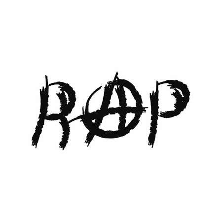 Inscription Rap with the sign of anarchy. Grunge style. Isolated vector illustration drawn by watercolour brush. Sketch, watercolor, paint.