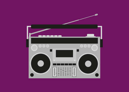 Old cassette recorder. Retro boombox. Isolated vector illustration.