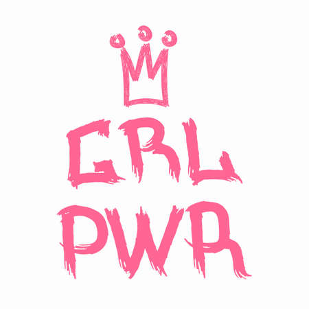 Inscription Girl Power with crown painted with watercolor brush. Grunge style. Isolated vector illustration.