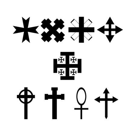 Set of symbolic crosses. Collection of isolated icons. Vector illustration. Archivio Fotografico - 125111761