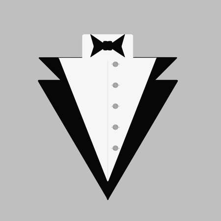 Man's tuxedo with a bow tie and a button-down shirt. Gentleman's logo. Isolated vector illustration.