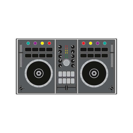 DJ remote for playing and mixing music. Vector illustration. Vector Illustratie