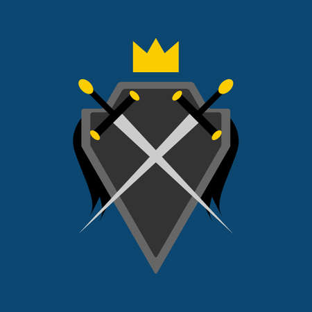 Shield, crossed swords and crown. Symbol,  emblem. Isolated vector illustration. Illustration