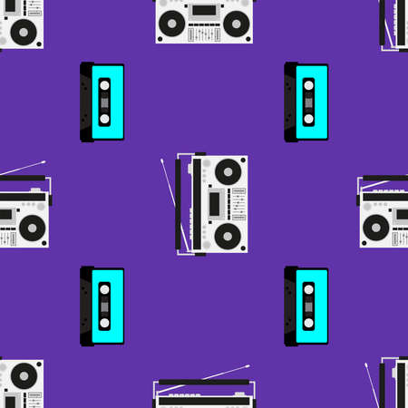 Print with old tape recorders and cassettes. Musical seamless pattern. Stylish vector illustration.