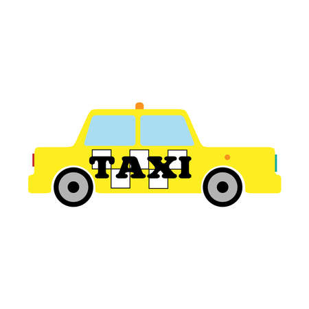 Side view of the taxi yellow. Isolated icon, logo, symbol. Simple vector illustration. Иллюстрация