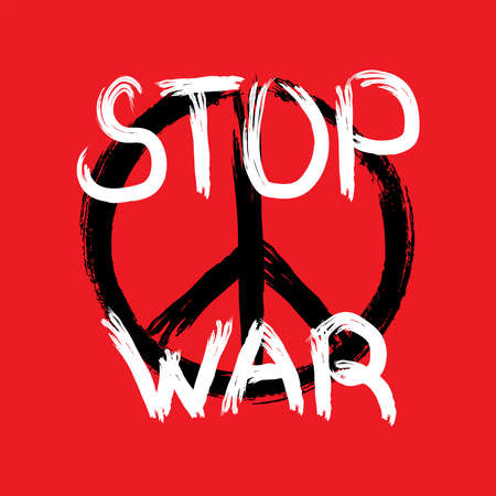 Peace symbol and handwritten text Stop War drawn by rough brush. Anti-war poster. Grunge, paint, graffiti, ink. Vector illustration.