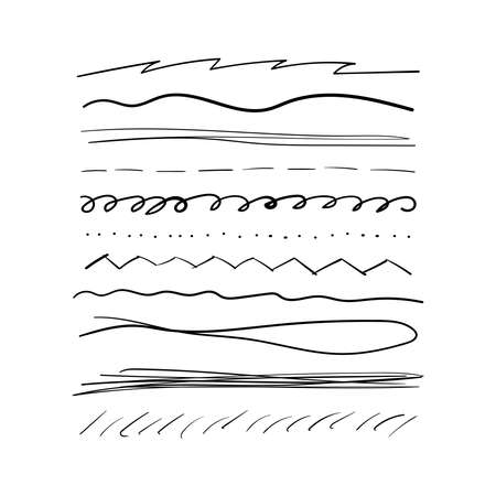 Set of underlines drawn by hand. Doodle, outline, doodle. Collection different curved lines. Simple vector illustration. Illustration
