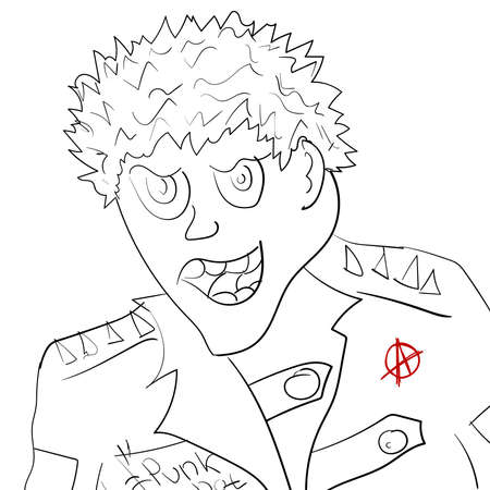 Sketch portrait of punk man. Caricature drawn by hand. Simple vector illustration.