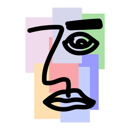 Sketch of male portrait on colored geometric background. Abstract facial features of man drawn by hand. Modern vector illustration.