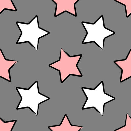 Seamless pattern with stars in the stroke drawn with a rough brush. Sketch, grunge, paint. Stylish vector illustration.