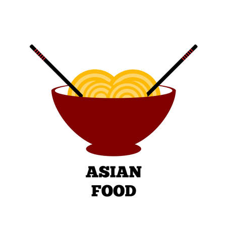 Bowl of noodles and chopsticks.  Asian cuisine. Isolated vector illustration.