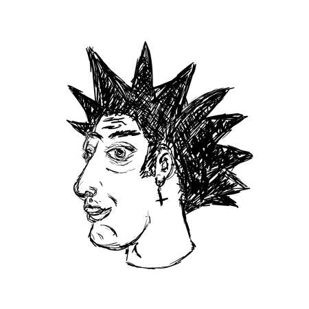 Sketch of portrait of punk with mohawk. Isolated vector illustration drawn by hand.