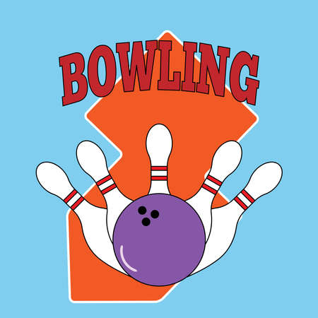 Skittles and a bowling ball. Logo, emblem, sign. Color vector illustration.