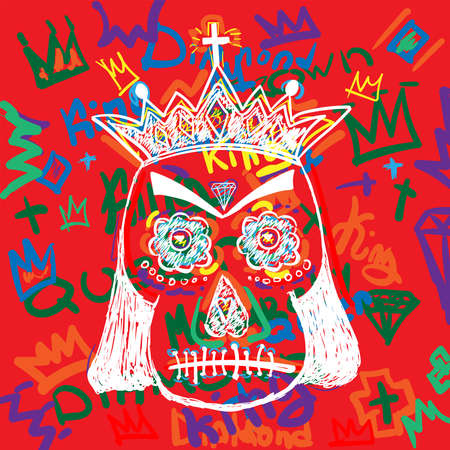 Skull in a royal crown on background of a handwritten text. Doodle, sketch, graffiti. Colorful vector illustration.