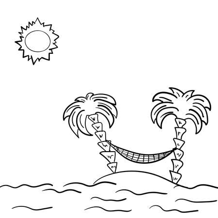 Sketch of the sunny beach with a hammock between palm trees. Drawn by hand. Simple vector illustration. Stock Illustratie