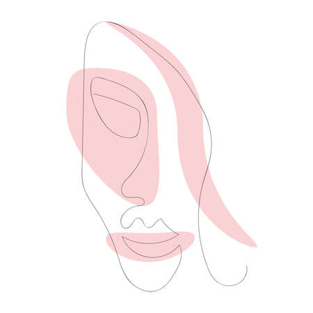 Minimalistic sketch of a smiling woman. Abstract face drawn with a continuous line. Modern vector illustration.