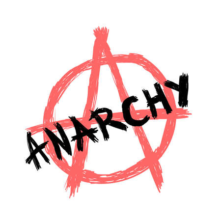 Text Anarchy and anarchy symbol drawn by hand. Sketch, grunge, ink. Isolated vector illustration.
