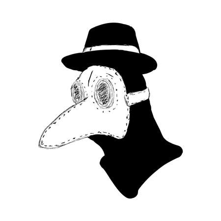 Sketch of head of plague doctor. Drawn by hand. Isolated vector illustration.