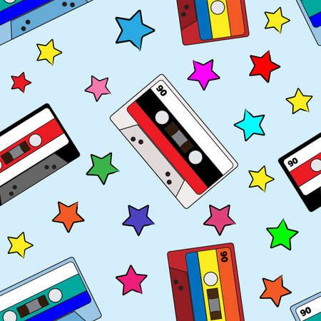 Seamless pattern with audio cassettes and stars. Musical print. Retro vector illustration. Vettoriali