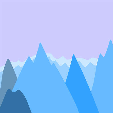 Cartoon background with mountains silhouettes. Square vector illustration.