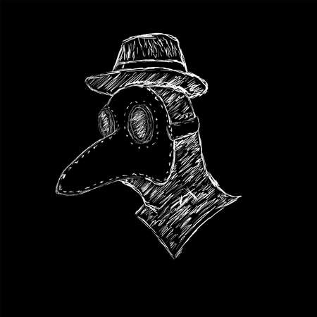 Sketch of the plague doctor drawn by hand. Head in mask and hat. Vector illustration.