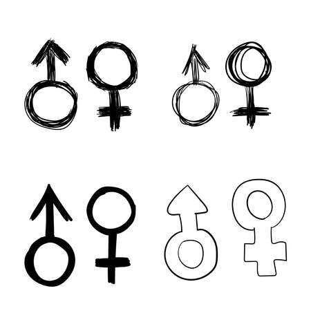 Signs male and female drawn by hand . A set of sketches of gender symbols. isolated vector illustrations.
