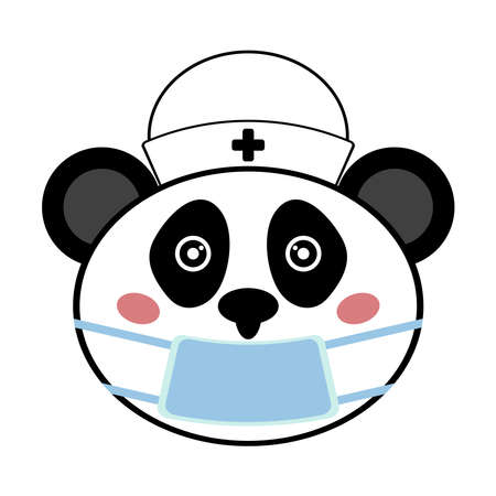 Panda head in medical mask and cap. Funny vector illustration.