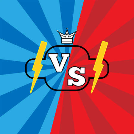 Versus logo with lightning bolts and a crown on red and blue background. Confrontation in sports, games, and competitions. Vector illustration.